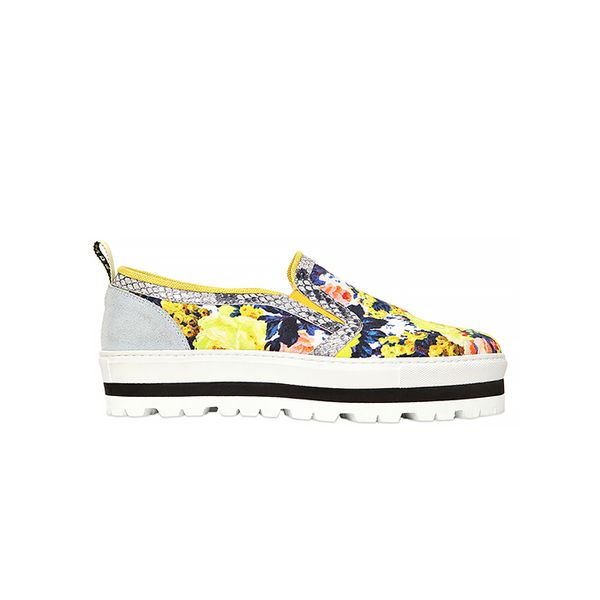 MSGM 40 MM Floral Canvas Slip On Sneakers