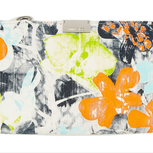 Jimmy Choo Zulu Floral-Print Canvas Clutch