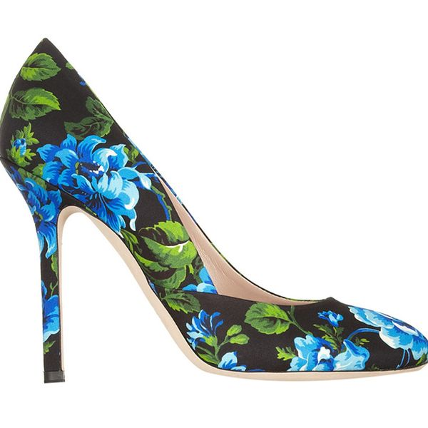 Miu Miu Floral-Print Canvas Pumps ($675)