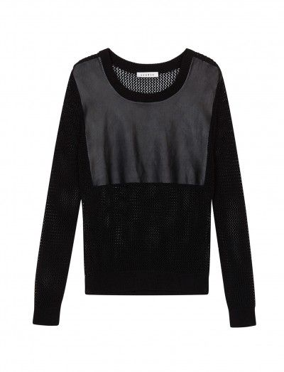 Sandro Sully Coated Mesh Sweater