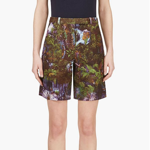 Carven Purple Jungle Print Shorts