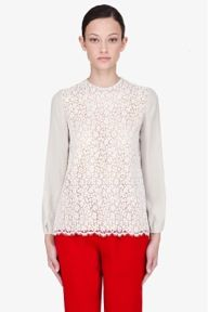 Chloe Chloe Lace Panelled Crewneck Silk Blouse