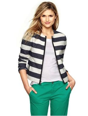 Gap Gap Striped Twill Zip Jacket