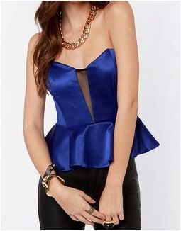 Just a Kiss  Just a Kiss Blue Peplum Bustier Top