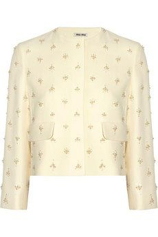 Miu Miu Bead-Embellished Stretch Cady Jacket