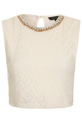 Topshop Necklace Lace Crop Top