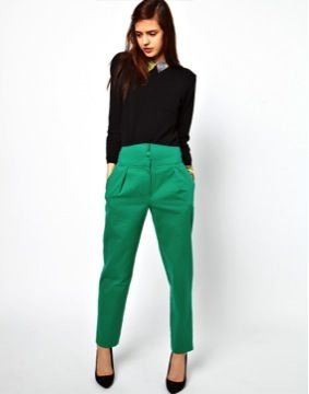 ASOS Pants with High Waisted Zip Front