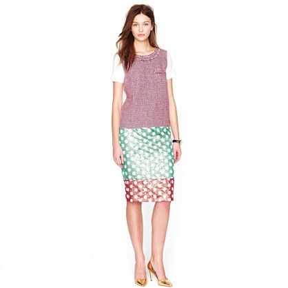 J. Crew J. Crew No.2 Pencil Skirt in Gold Leaf Dotted Jacquard