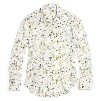 Madewell  Madewell Silk Boyshirt in Birdslife