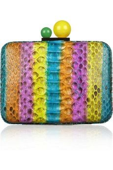 Azealia Striped Python Clutch