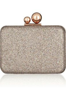 Azaealia Glitter-Fined Leather Clutch