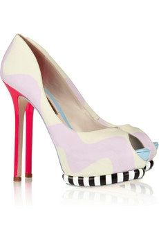 Karlie Brushed-Satin and Leather Peep-Toe Pumps