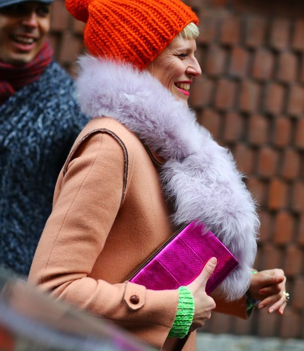 MFW Street Style: Bright + Furry