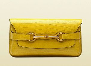 Gucci Bright Bit Yellow Shiny Crocodile Clutch