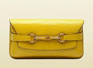 Gucci Bright Bit Yellow Shiny Crocodile Clutch