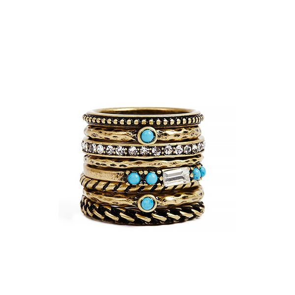 Guess Antique-Effect Gold-Tone Stackable Rings