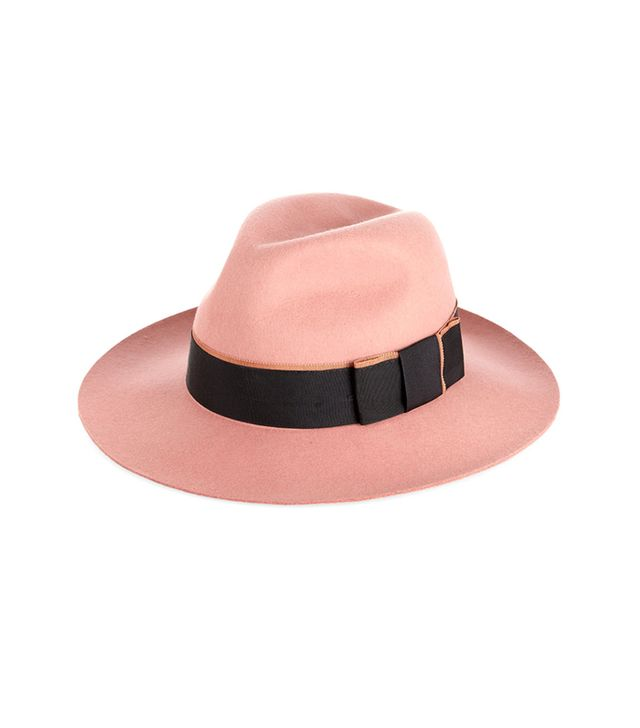 Karl Lagerfeld Wool-Felt Fedora ($215) in Coral