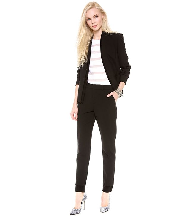 J Brand Ready-to-Wear Hale Blazer ($595) and Marianne Trousers ($395) in Black/Black