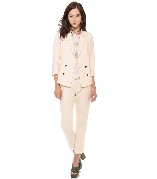 Band of Outsiders Shrunken Double Breasted Blazer ($1,095) and Ankle Trousers ($475) in Ecru
