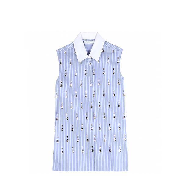 Altuzarra Vervet Pinstripe Blouse With Embellishment