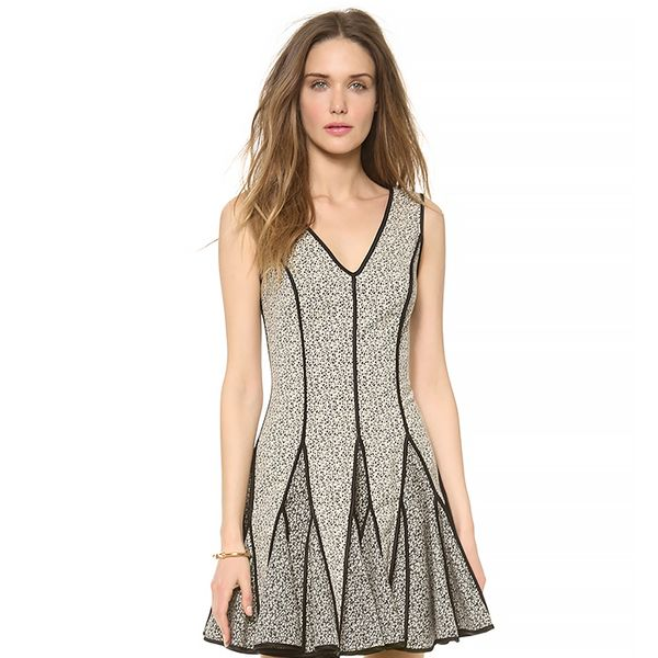 Halston Heritage V Neck Jacquard Dress