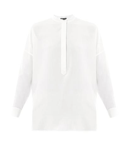 Vince Half-Placket Silk Blouse