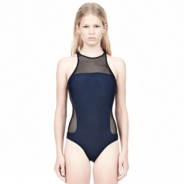 Alexander Wang Mesh Combo Racerback One Piece Swimsuit