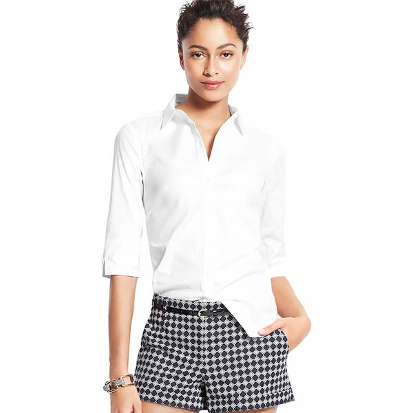 Ann Taylor Perfect Short Sleeve Button-Down Shirt ($
