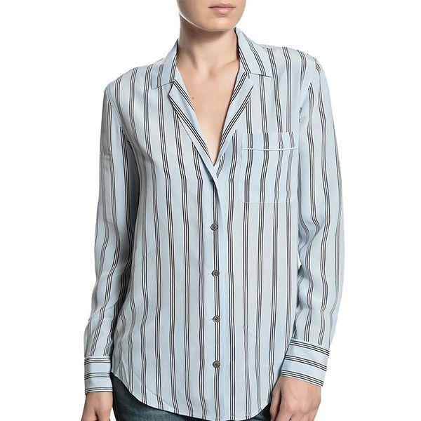 Equipment Keira Striped Button-Down Blouse