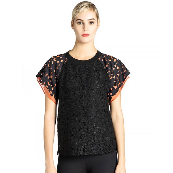 MSGM MSGM Contrast Sleeve Lace Top