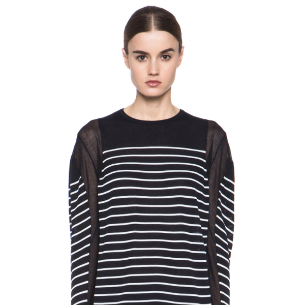 T By Alexander Wang Sheer Panel Striped Pullover