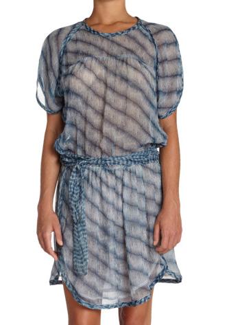 Isabel Marant Etoile Zaggy Stripey Chiffon Dress