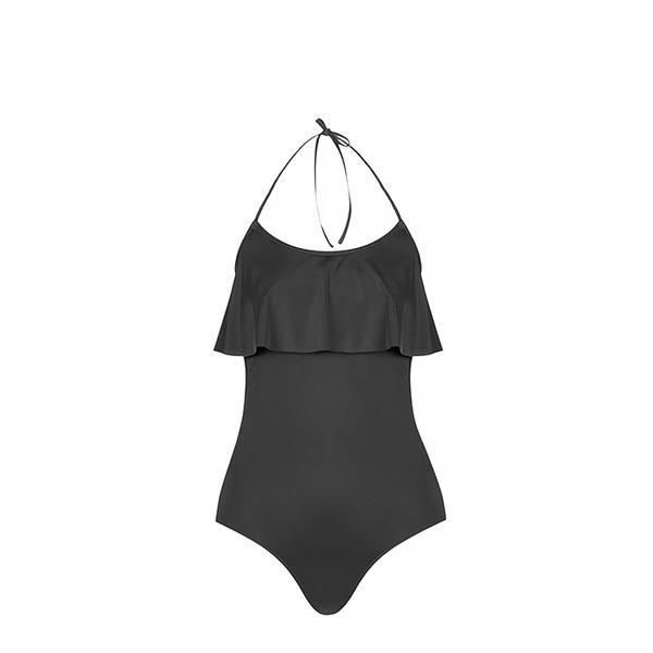Topshop Black Frill Shelf Swimsuit