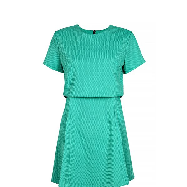 Boohoo Holly Layer Detail Pleat Flared Dress