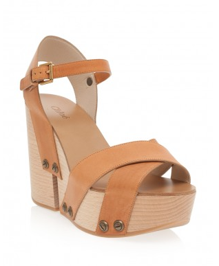 Chloe Wood Cut Out Heel Wedges