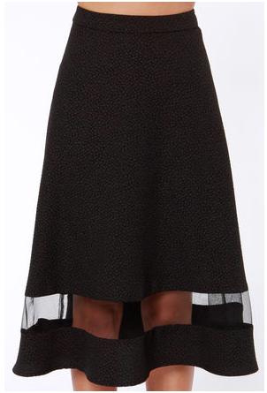 Lush Asphalt Runway Midi Skirt