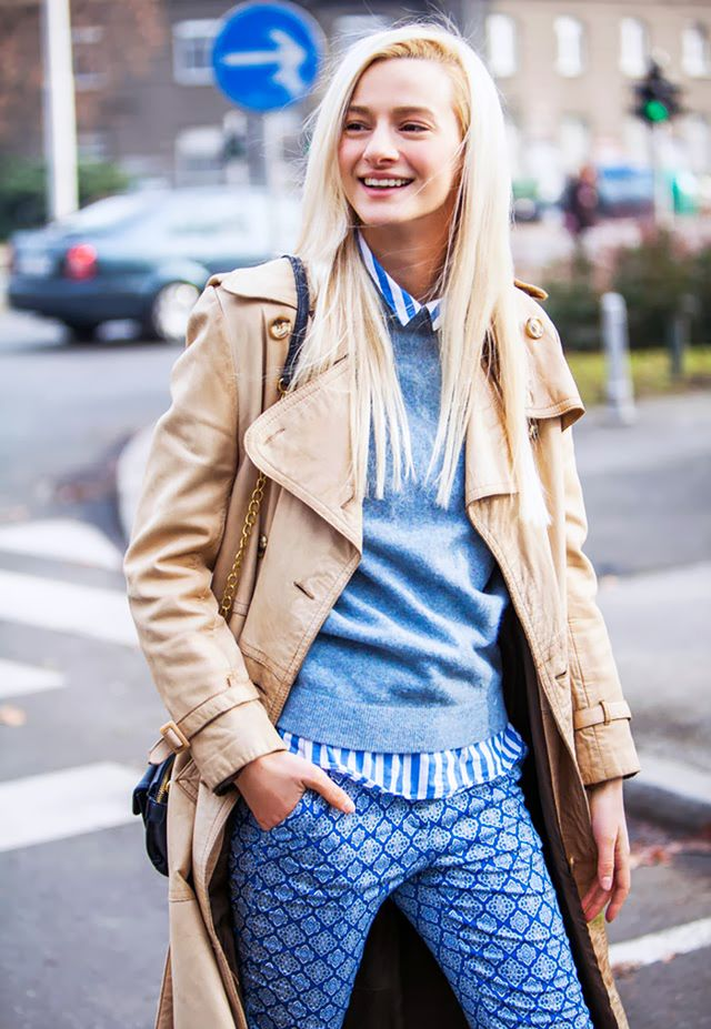Layer a fitted sweater over a printed button-down top for a super preppy look.