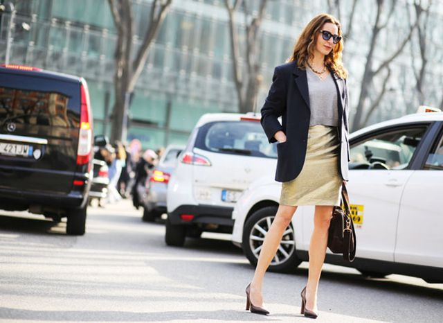 Wear a cropped sweater with a slimming pencil skirt and structured blazer for an unexpectedly sharp outfit.