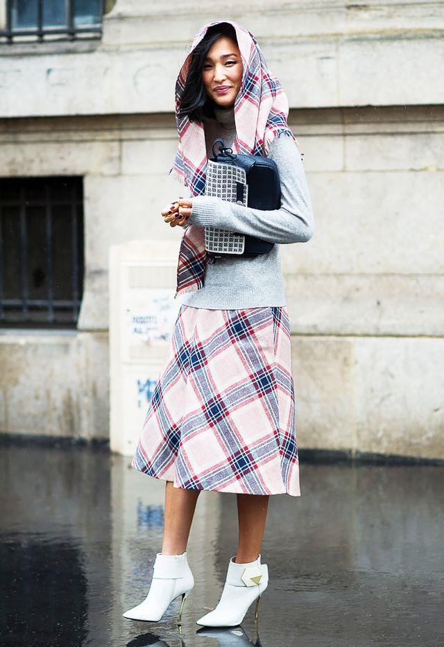Break up a print-on-print outfit with a basic gray sweater.