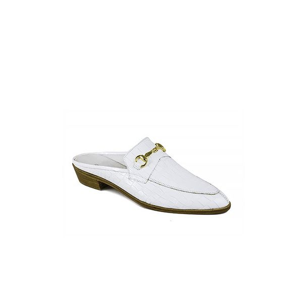 Modern Vice White Croco Emboss Slides