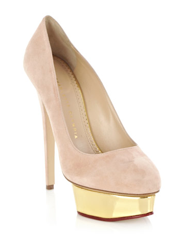 Charlotte Olympia Nude Dolly Platform Pumps