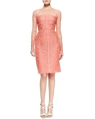 Elie Saab Sheer-Top Long-Sleeve Lace Dress