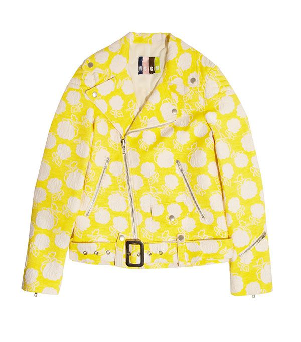 MSGM Cotton-Blend Jacquard Biker Jacket ($845)