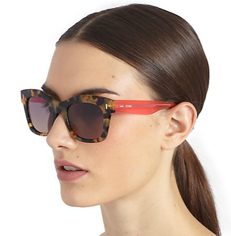 Fendi Colorblock Square Acetate Sunglasses