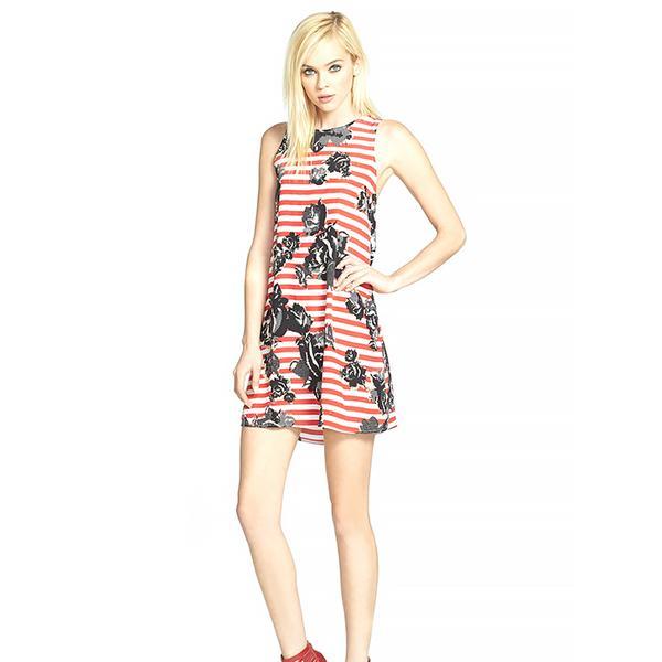 Wayf Floral Stripe Crepe Shift Dress