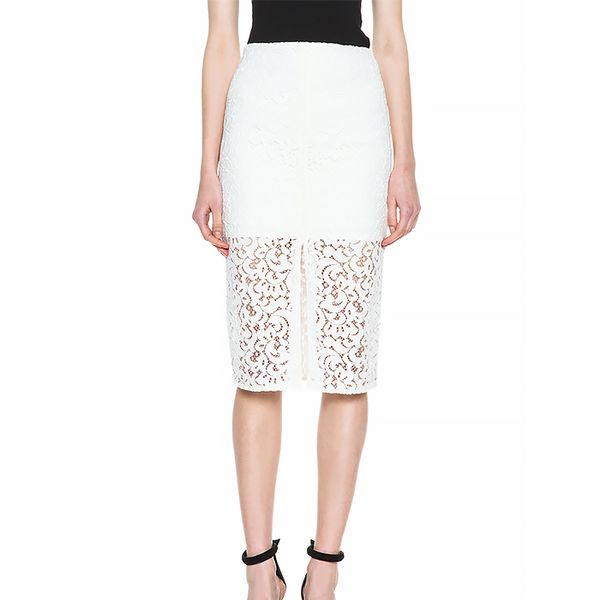 Nicholas Pencil Crochet Knit Skirt
