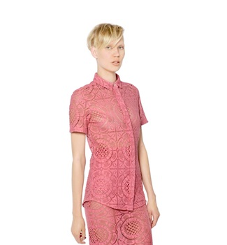 Burberry Prorsum Short Sleeved Victorian Lace Shirt