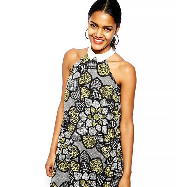 River Island Black Chelsea Girl Floral Collared Dress