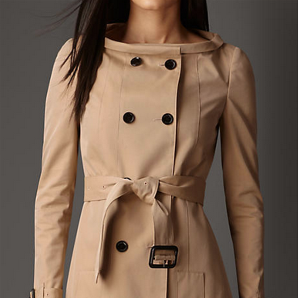 Burberry Prorsum Long Boat Neck Gabardine Trench Coat