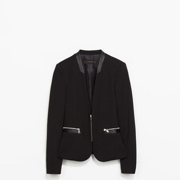 Zara Pique Blazer With Zips